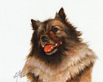 Original Oil DOG Portrait Painting KEESHOND Terrier Art Artist Signed Puppy