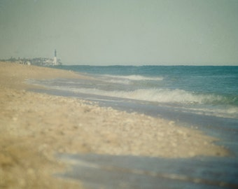 Seashore Photography, Beach Photograph, Coastal Decor, Ocean Wall Art, Lighthouse Picture, Blue and Tan Photo