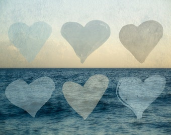 Lake House Decor, Blue and Gray Artwork, Ocean Photograph, Heart Picture, Denim Blue Wall Art, Romantic, Love