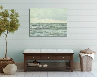 Ocean Photography, Large Wall Art Canvas, Bathroom Wall Decor, Seafoam Green Canvas Art, Beach House Picture, Wave Photograph
