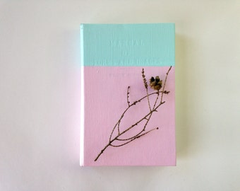 DISCOUNTED! Sketchbook or Journal - Upcycled Painted Hardcover Journal, Recycled Book Journal, Blank Journal, Recycled Sketchbook, Pink Book