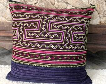 "Hmong Pillow Cushion Ethnic Embroidery Batik 16 ""  Purple Decorative Throw Pillow Cushion, ** Free Worldwide Shipping **"