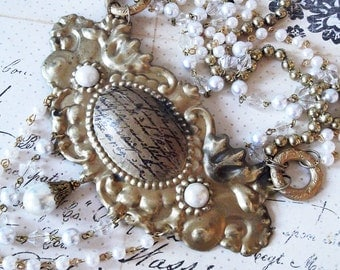 Vintage Escutcheon Faux Pearls Rosary Beads Pearl Cabochon & Pearl Drop With Decoupage Statement Necklace