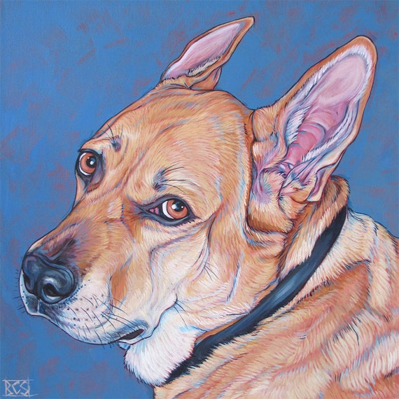 "24"" x 24"" Custom Pet Portrait Painting in Acrylic Paint on Canvas of One Dog, Cat, or Other Animal. 3/4"" Deep canvas, painted sides ooak art"