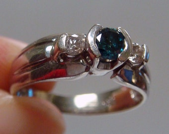 REDUCED!!  14k .36ctw Blue & White Diamond Three Stone Engagement Ring