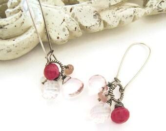 Ruby Moonstone Earrings Moonstone Earrings Pink Amethyst Dangle Earrings Fuchsia Pink Summer Trends Moonstone Jewelry Gift Idea for Her