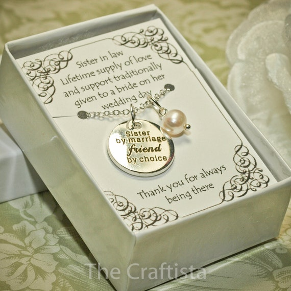 Wedding Gift For Sister In Law : Sister of the Groom Necklace SIL Sister-in-law Necklace