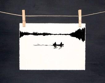 Canoe Lake - LINOCUT - hand printed