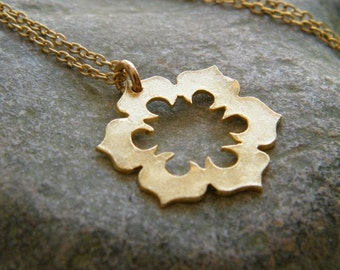 gold flower necklace dainty flower necklace gold flower pendant dainty gold necklace