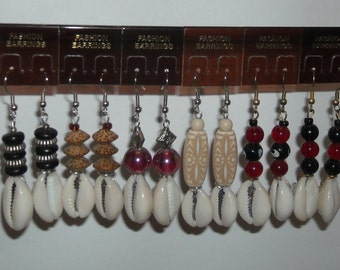 Afrocentric Cowrie Shell Dangle Earrings