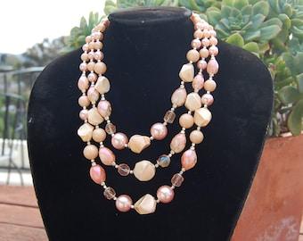 Vintage mid-century HANDMADE bead NECKLACE 3 strand pink peach