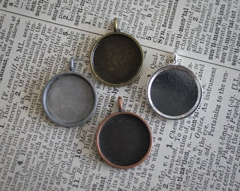 12 pieces - 16mm Round Pendant Blank Setting - Round Cabochon Bezel . Great for necklace photo charms
