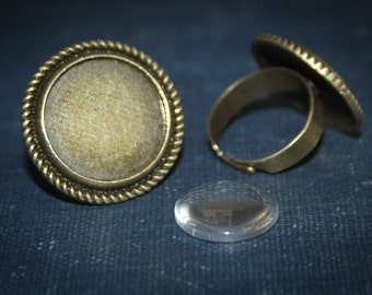 75% OFF 3 Ring Making Kit - 16 mm Round Ring base and 1 matching glass cabochon - adjustable finding Free shipping SALE