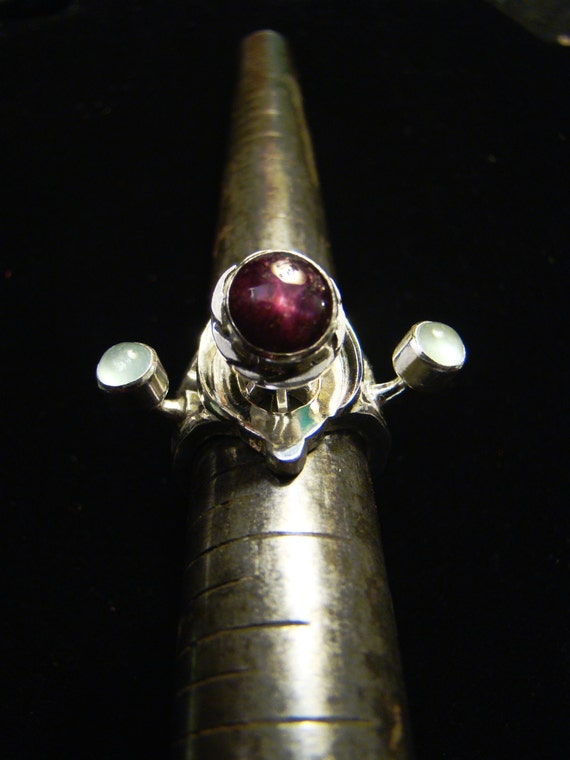 The Mazken Ring of Cylarne - OOAK Star Ruby, Moonstone, Prehnite and Sterling Silver Ring of Legend