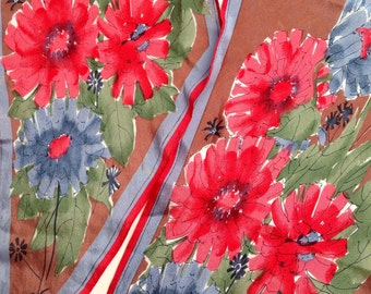 1960-70s Silk VERA NEUMANN Floral Scarf with Red, Blue, Green and Brown Colours