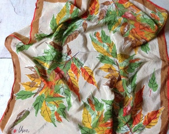 Vintage VERA NEUMANN Silk Scarf with Leaf Pattern, Green, Yellow, Orange and Brown Colours