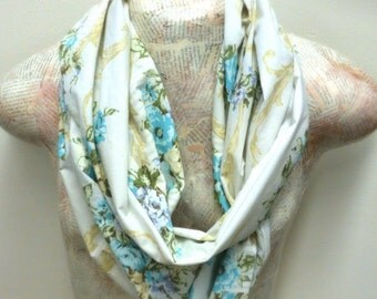 Upcycled Blue Floral Infinity Scarf
