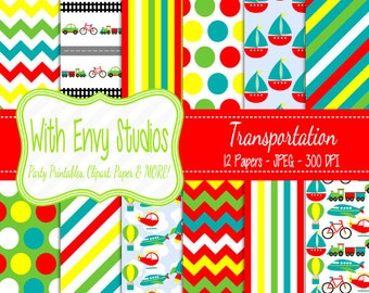 50% OFF  Transportation Scrapbook Paper - Transportation Digital Paper - Transportation Paper Pack - Commercial Use