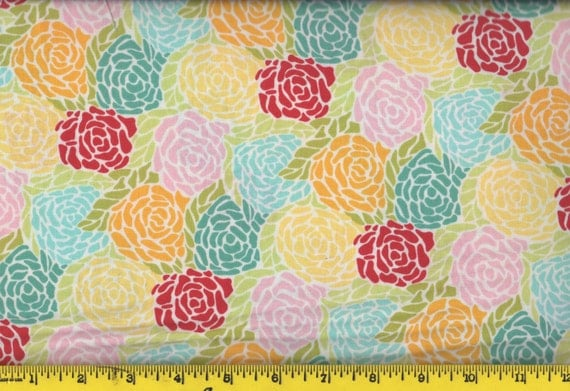 Red Roses Yellow Roses Teal Roses Chantilly By Moda
