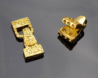 Gold Fold Over magnetic Clasp #W0016 /2 pack 12mm wide x 23mm long x 10.5 mm thick-1mm hole