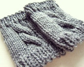 Womens Boot Toppers Knit Boot Cuffs Knitted Leg Warmers Gray Socks Ladies Legwear Crochet Accessories Grey Winter Gift Ideas Handmade