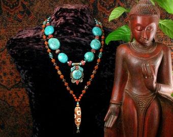 Natural Turquoise Necklace, Rudraksha Mala, Dzi Bead Mala, Necklace Set, Tibetan Pendant Necklace, Genuine Turquoise, Buddhist