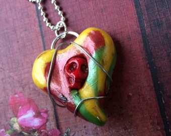 Steampunk Multi colored Yellow Red & Green Sugar Skull Heart Pendant Necklace