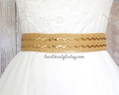 Gold Sequined Lace and Old Gold Satin  Ribbon Sash, Bridal Gold Sash, Bridesmaid Sash, Gold Sequined Sash Belt