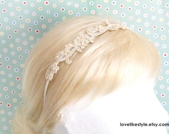 Light Gold Skinny Flower Lace with Pearl Beading  Headband, Bridal Headband, Bridemaid Headband, Flower Girls Headband / HB-20