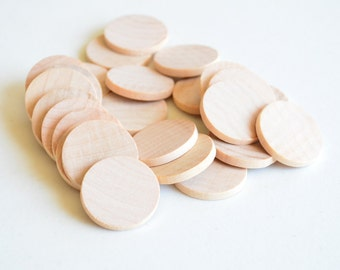 """50 Unfinished Wooden Circles 1"""" -Small wooden circles -Circles unfinished -Wooden Circles -Wooden Crafts -Wooden Shapes"""