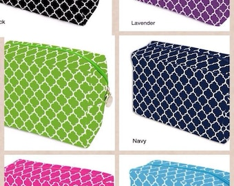 Quatrefoil cosmetic bag in multiple colors monogrammed