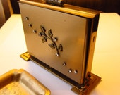 Vintage Brass Rhinestone Tabletop Cigarette Caddy with Ashtray