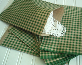 Paper Favor Bags -  Pink Treat Bags - 1 Dozen  Packaging -  Gift Bags - Retail Green Check