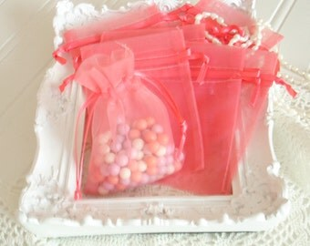 Wedding Favors  Organza Bags  50 Coral Sheer Bridal Baby Shower Party Favor Easy Small