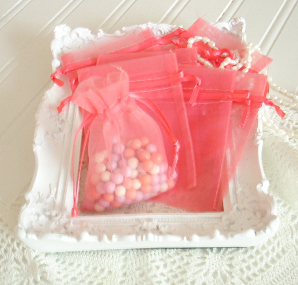 Wedding Favors Organza Bags 150 Coral Sheer Bridal Baby