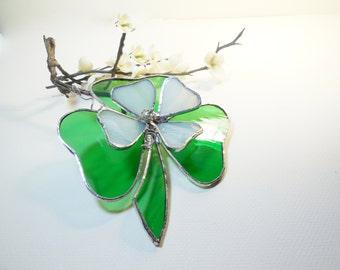 Stained Glass Shamrock, Irish Suncatcher, Shamrock With Soft White Flowers,   St. Patrick's Day, Clover by jacquiesummer