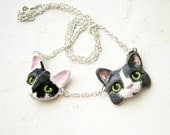 Custom Pet Portrait, Necklace with more than one cat