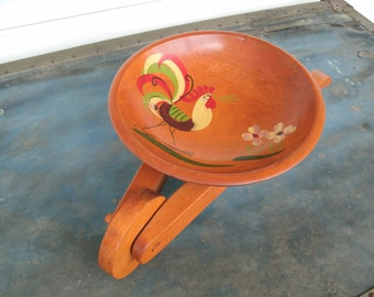 SALE  1950's Wooden Wheelbarrow Snack Bowl With Painted Rooster  On It