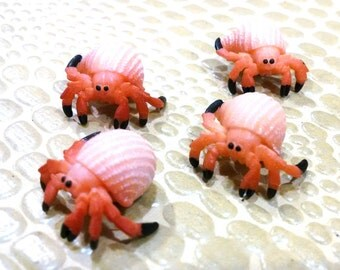 4 Very Tiny Miniature Hermit Crab / Small Animals / Terrarium Supply / Diorama