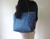 Polka Dot Screen Print Natural Linen Weekender Tote Bag Brown Leather Handles