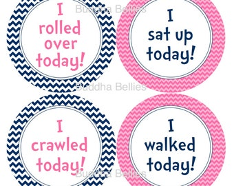 Baby Girl Milestone Stickers Baby's Firsts Baby Stickers Baby Stickers Accomplishment Stickers Pink and Navy Chevron Baby Shower Gift GM142