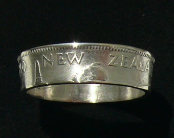 Silver Coin Ring 1944 New Zealand 1 Shilling Double Sided and Ring Size 8