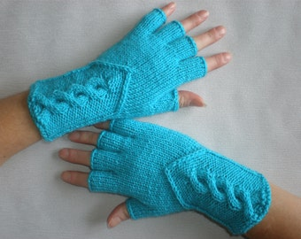 Hand-knitted turqoise color women fingerless gloves /wrist warmers