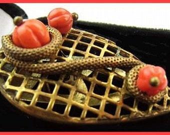 "Art Deco Brooch Fur Clip Orange Pumpkin Beads Serpentine Brass Metal 2"" Vintage"