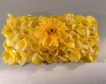 Yellow Sunflower Clutch Purse , Bridesmaid Clutch, Formal Clutch Purse , Silk Petals Purse , Ruffle Clutch , Wedding Bag