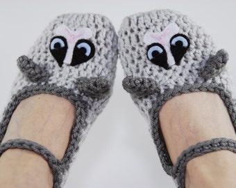 Crochet Grumpy Cat Slippers-Cat Slipper-Animal slippers-Women Accessories-Kawaii-Grey-Crochet Shoes-Crochet