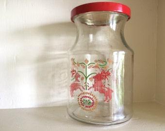 Scandinavian Folk Jar with Red Lid