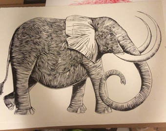LARGE woodcut elephant print - hand drawn, carved and printed