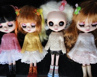 Hand Knitted 10 Colors Cabel Pattern Sweaters for Blythe