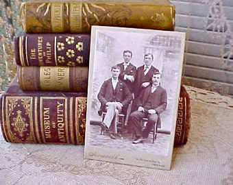 Charming Victorian Sepia Toned Photograph of 4 Handsome Young Men